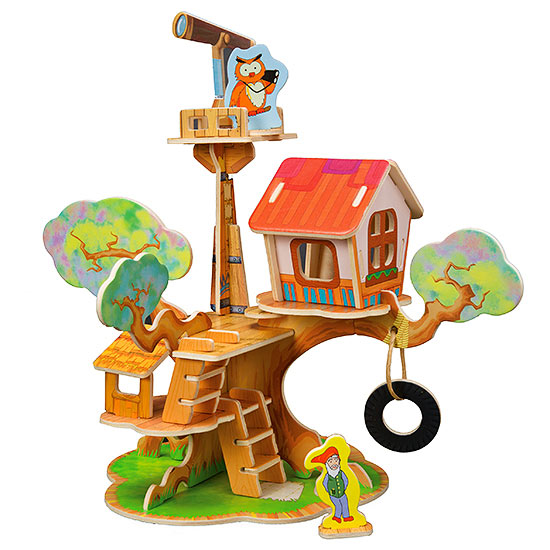 Wooden puzzle treehouse
