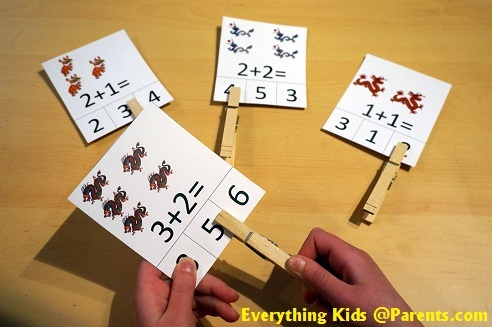Basic Addition - Clothes Pin Activity