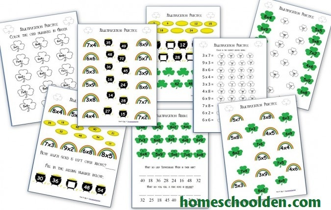 St Patricks Day Multiplication Pages