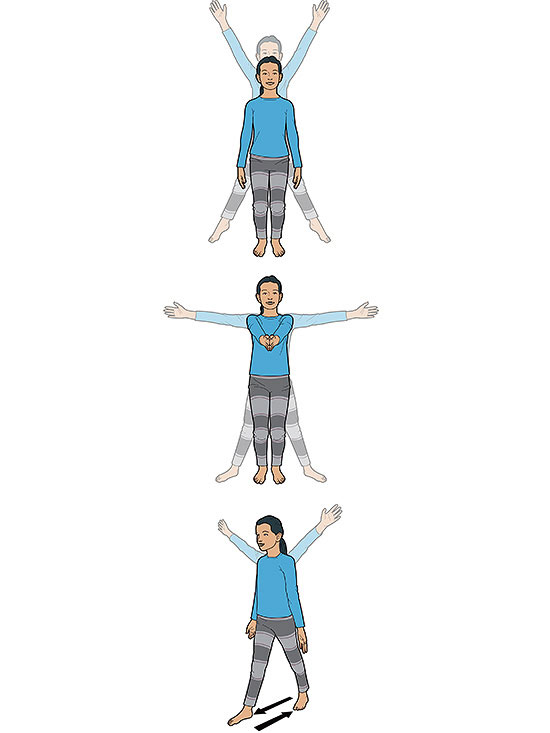 Three jumping jacks illos