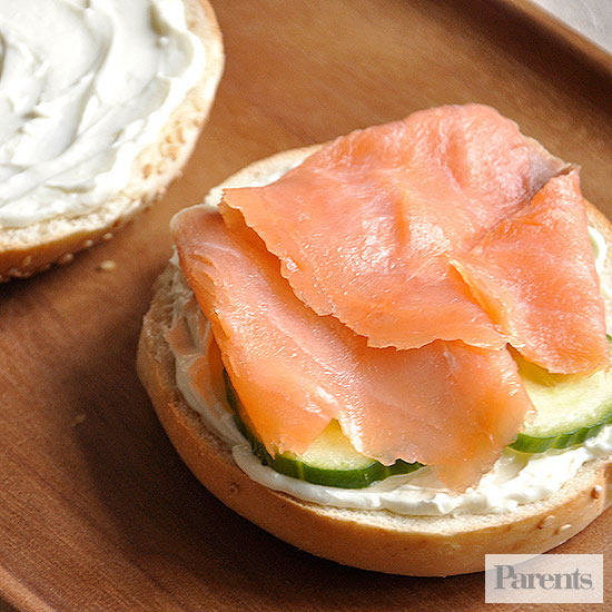 Bagels with cucumber and lox