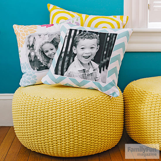 Yellow pouf with three pillows on it – two have children's faces