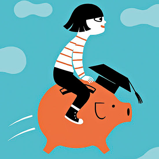 Girl riding a piggy bank