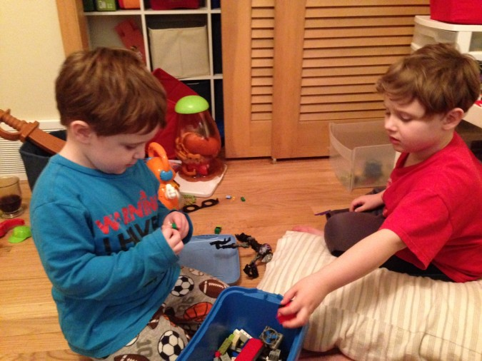Liam playing with his brother