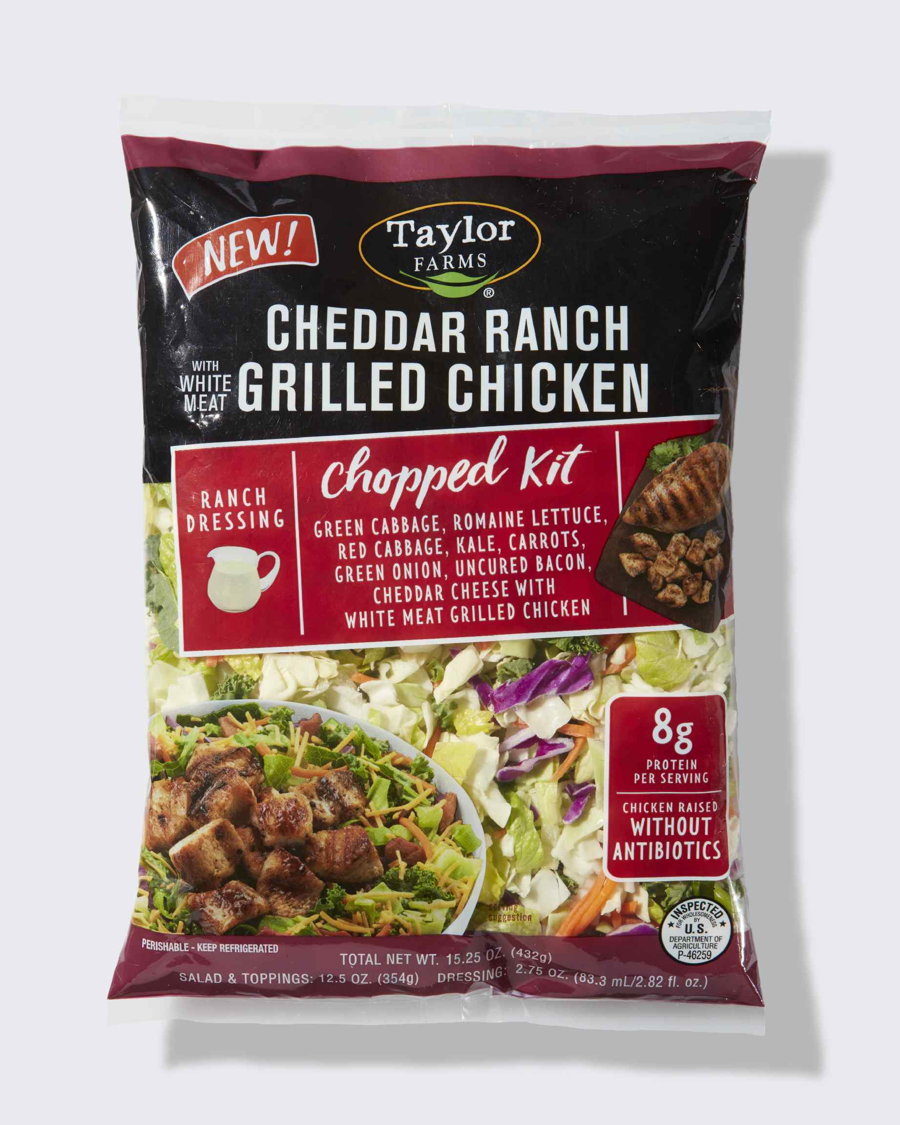 Taylor Farms Cheddar Ranch With White Meat Grilled Chicken Chopped Kit