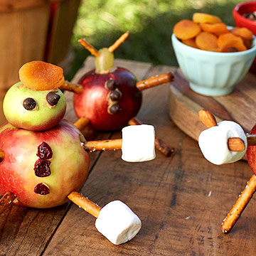 Apple, pretzel, and marshmallow animal snacks