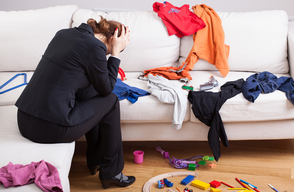 unhappy mom with messy house
