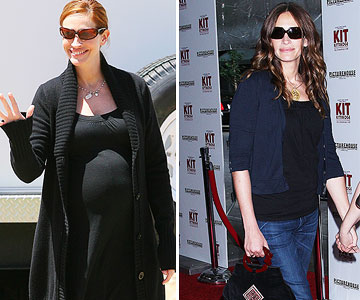Julia Roberts before and after pregnancy