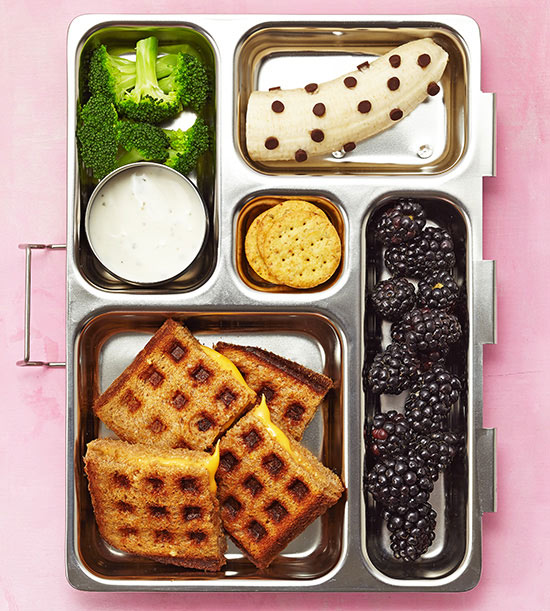 Waffle grilled cheese bento box lunch