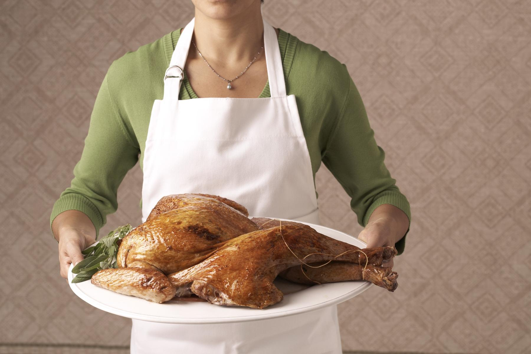 Woman with Roasted Turkey