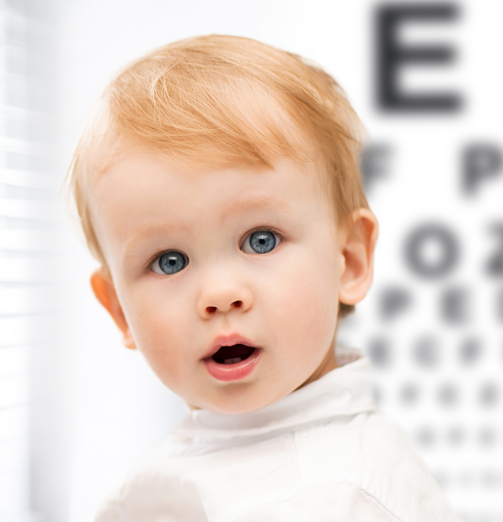young boy in eye doctor's office