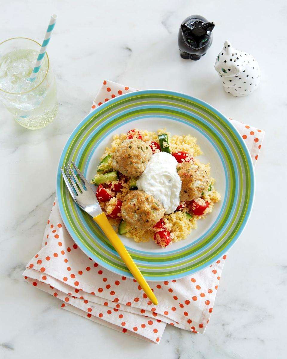Baked Turkey Meatballs With Couscous Salad and Feta Sauce
