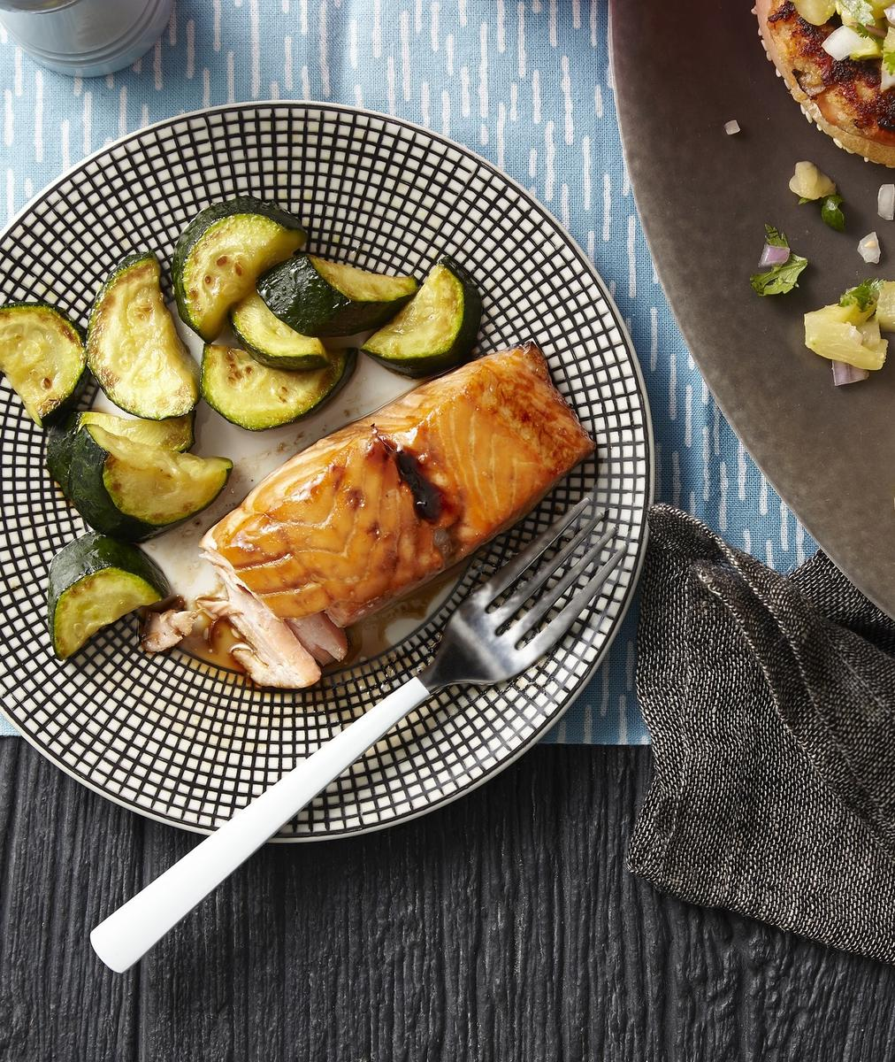 Honey-Soy Salmon With Zucchini