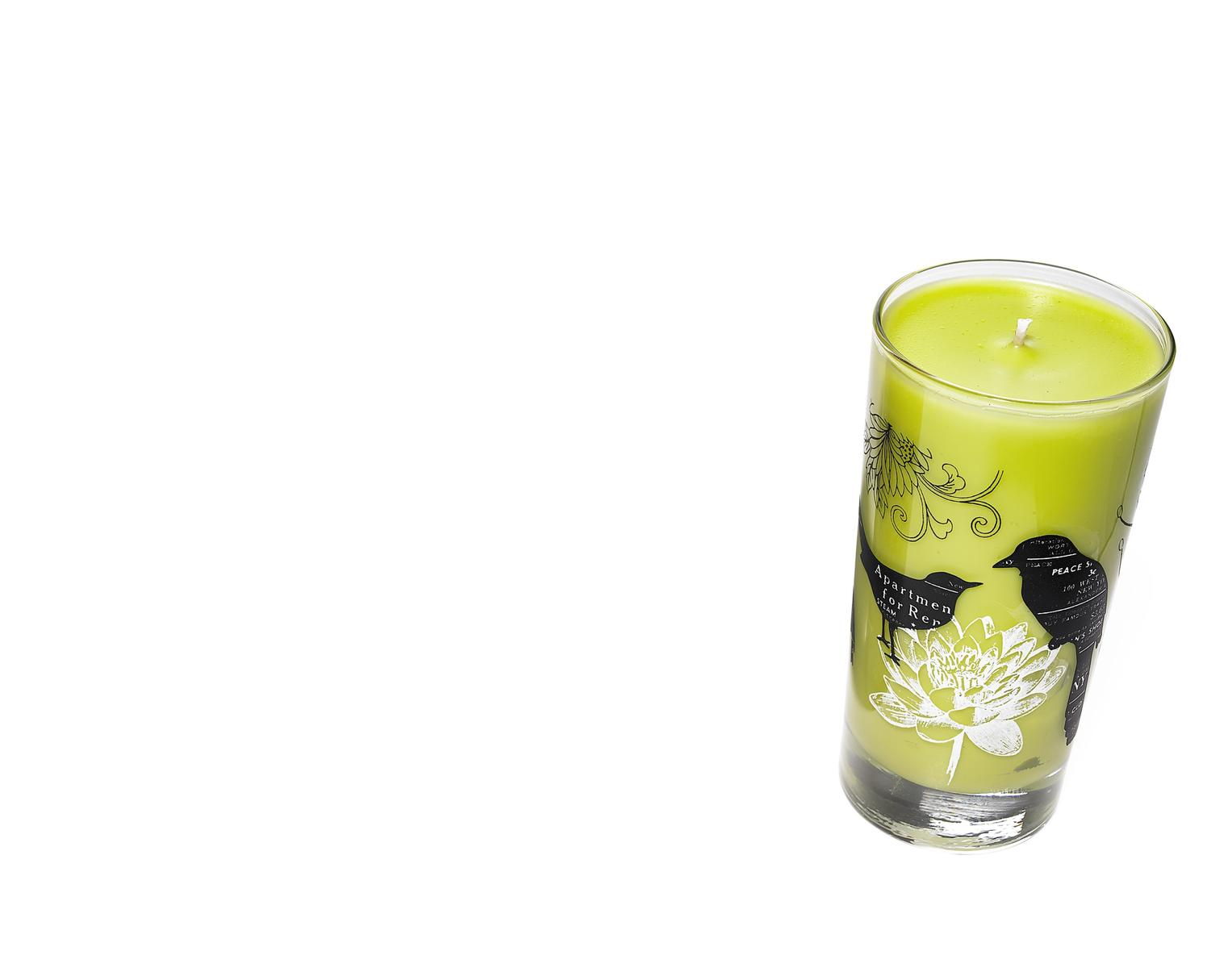 Candle in Glass Container with Bird Design