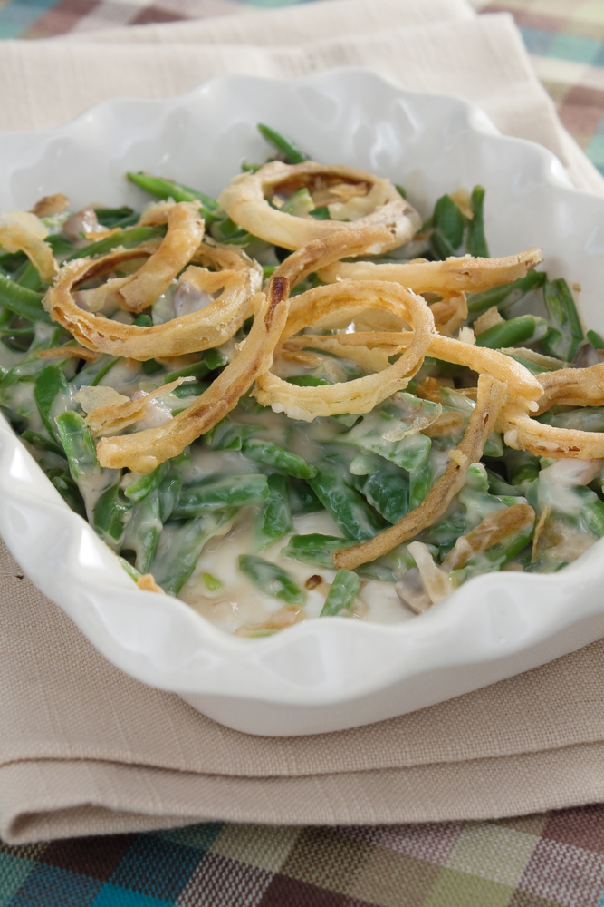 Green bean casserole in white dish