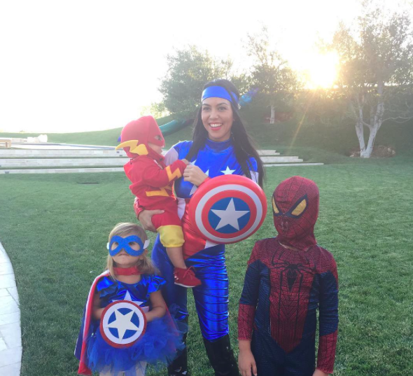 Kourtney Kardashian and kids as superheroes