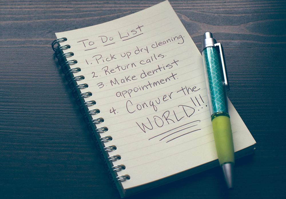 funny to-do list conquer the world