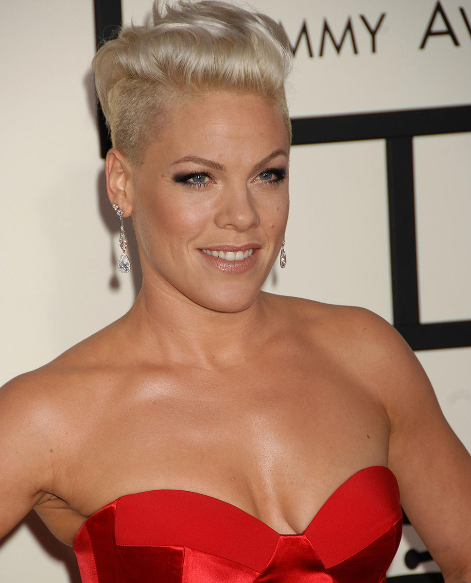 Pink in red dress at Grammys