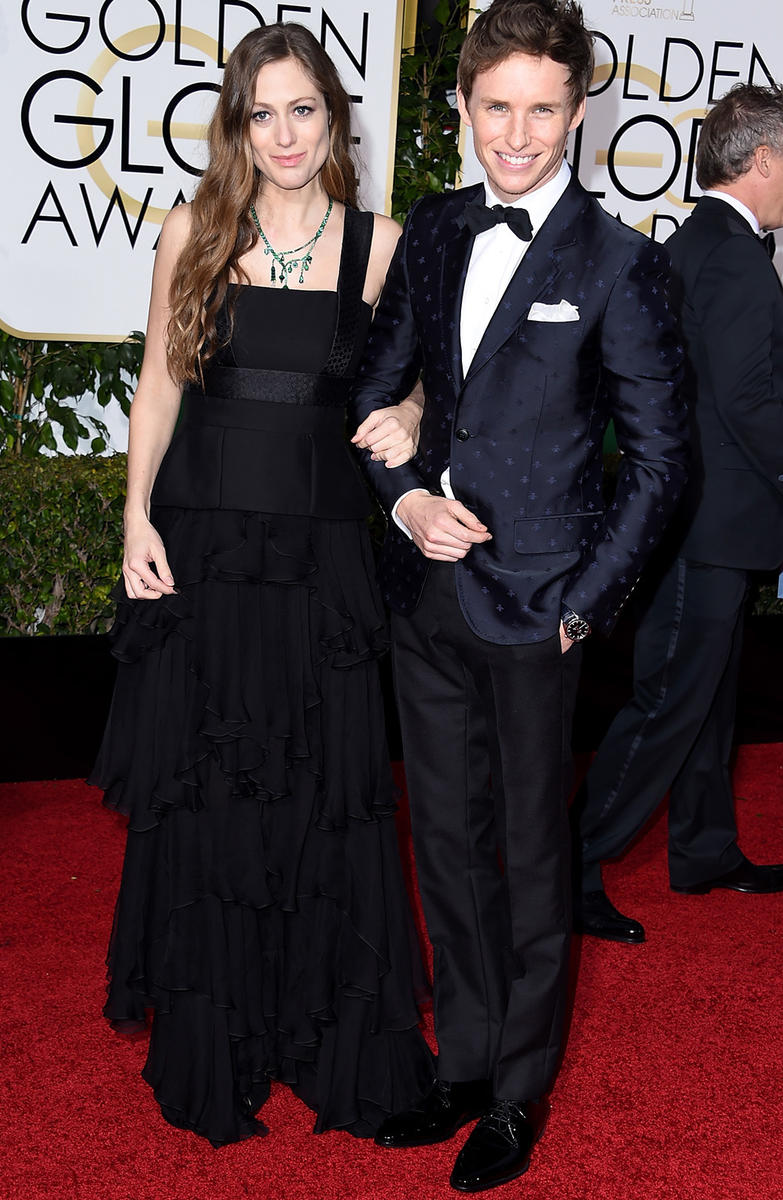 Eddie Redmayne and wife at Golden Globes 2015