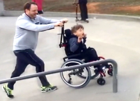 Boy in Wheelchair Enjoys Skate Park Thanks to His Awesome Dad