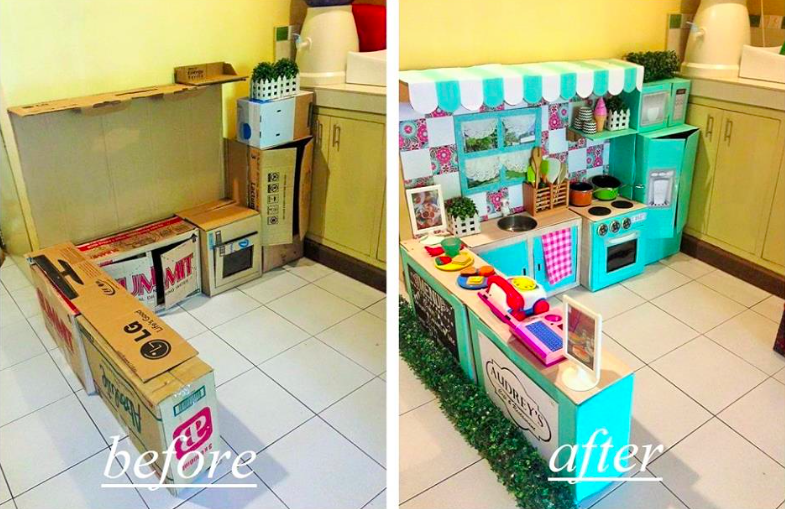 Mom S Homemade Cardboard Kitchen Puts Every Other Diy