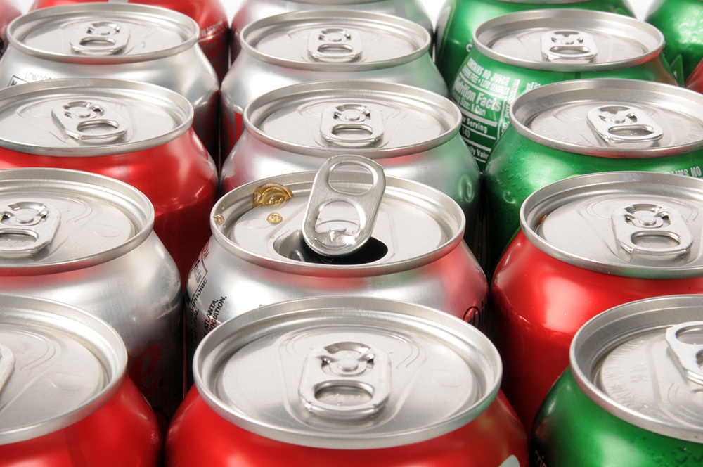 rows of soda cans