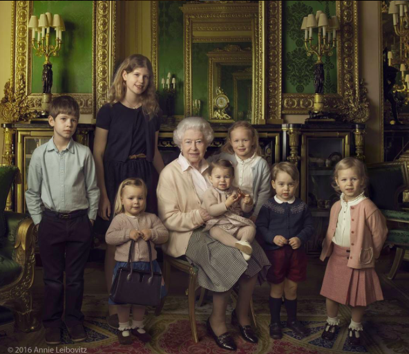 The Queen surrounded by her two youngest grandchildren and five great-grandchildren, to mark Her Majesty's 90th birthday.