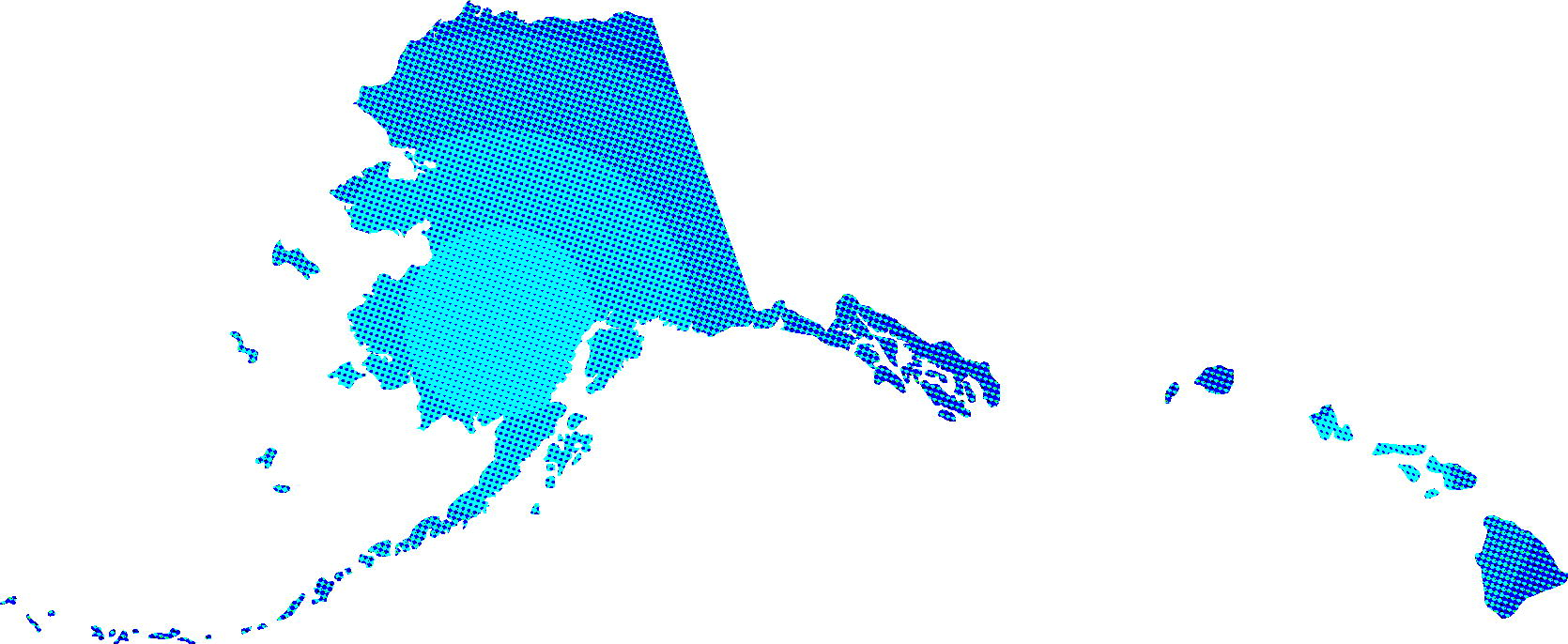 Little Known STATES Alaska Hawaii Blue America Map