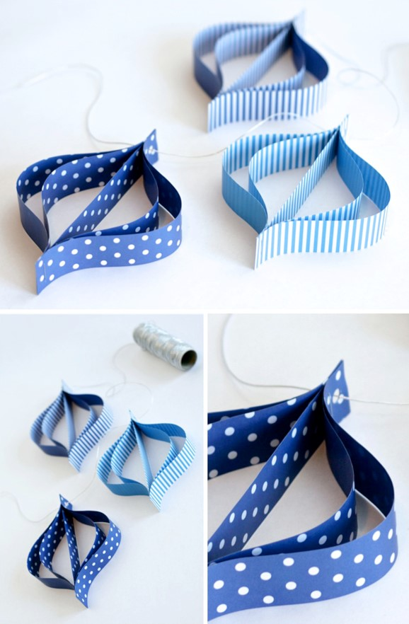 Blue Paper Dreidel Garland For Hanukkah