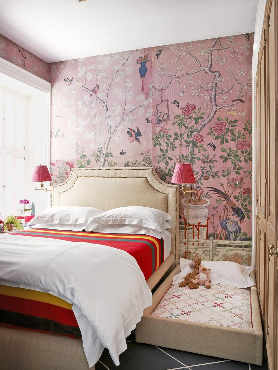 Sleep Space Fixes Pink Floral Wallpaper Bedroom and Mini Trundle Bed