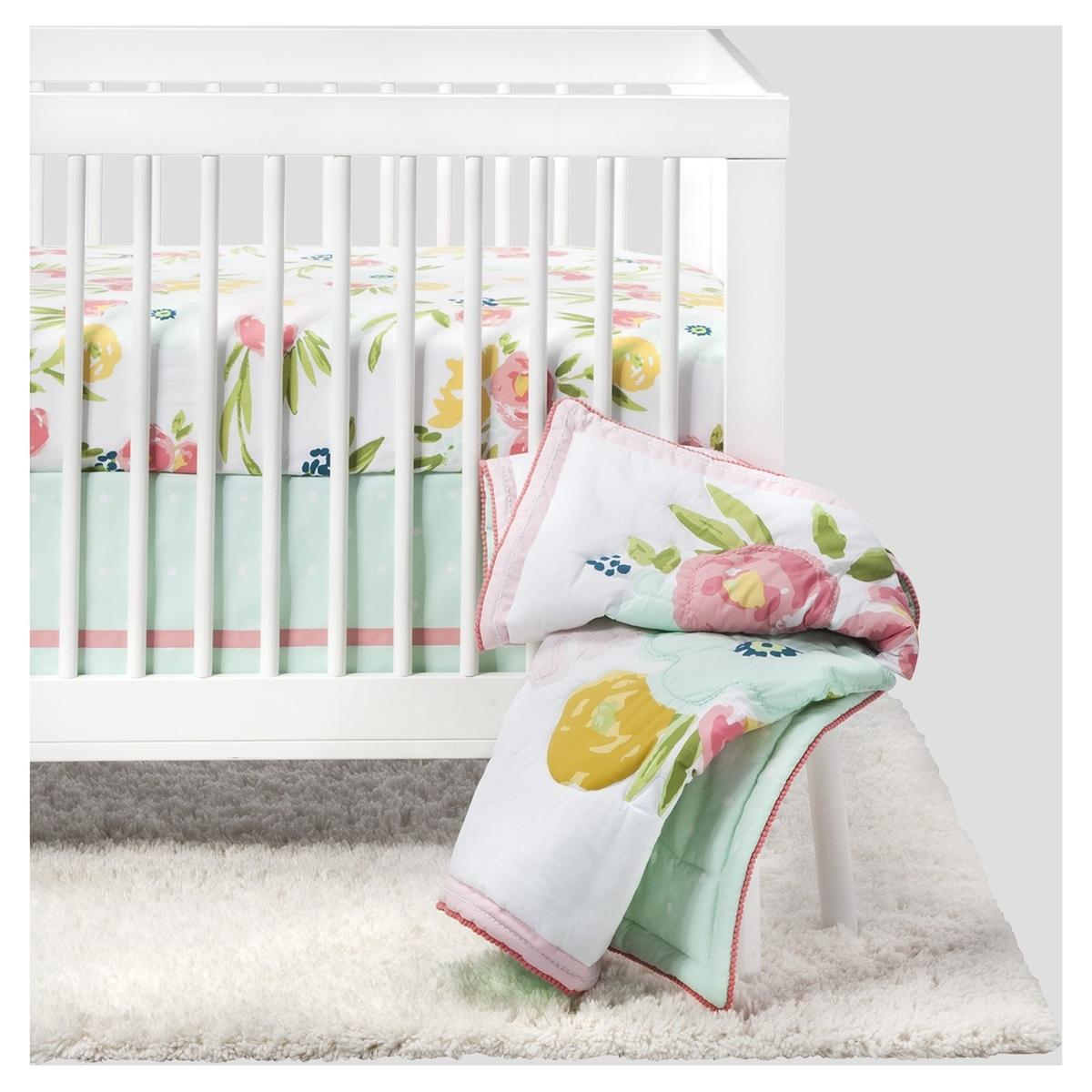 Cloud Island Nursery Collection White Crib Pink Floral Sheets