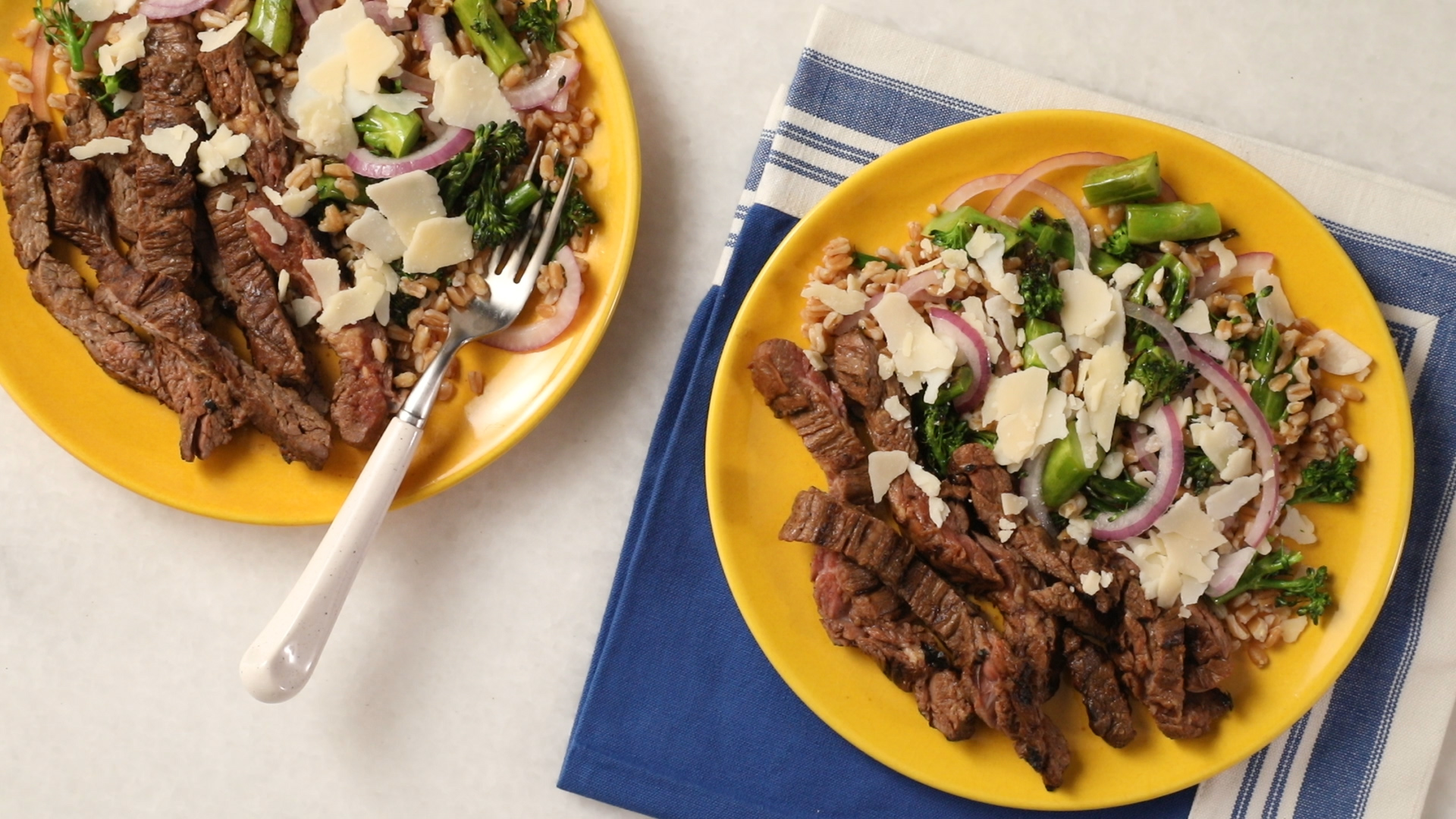 Steak with Broccolini Farro