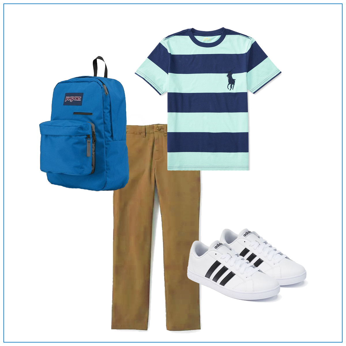 Khakis with a striped shirt and Adidas sneakers
