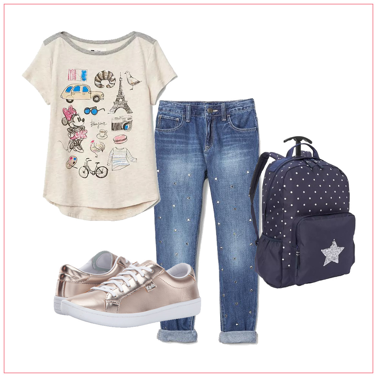 Jeans with a t-shirt, backpack, and metallic shoes