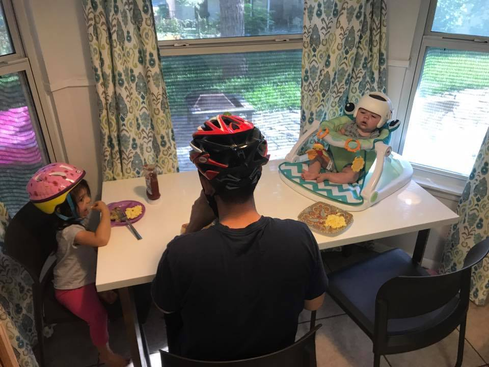 This Family Donned Helmets to Support Their Son