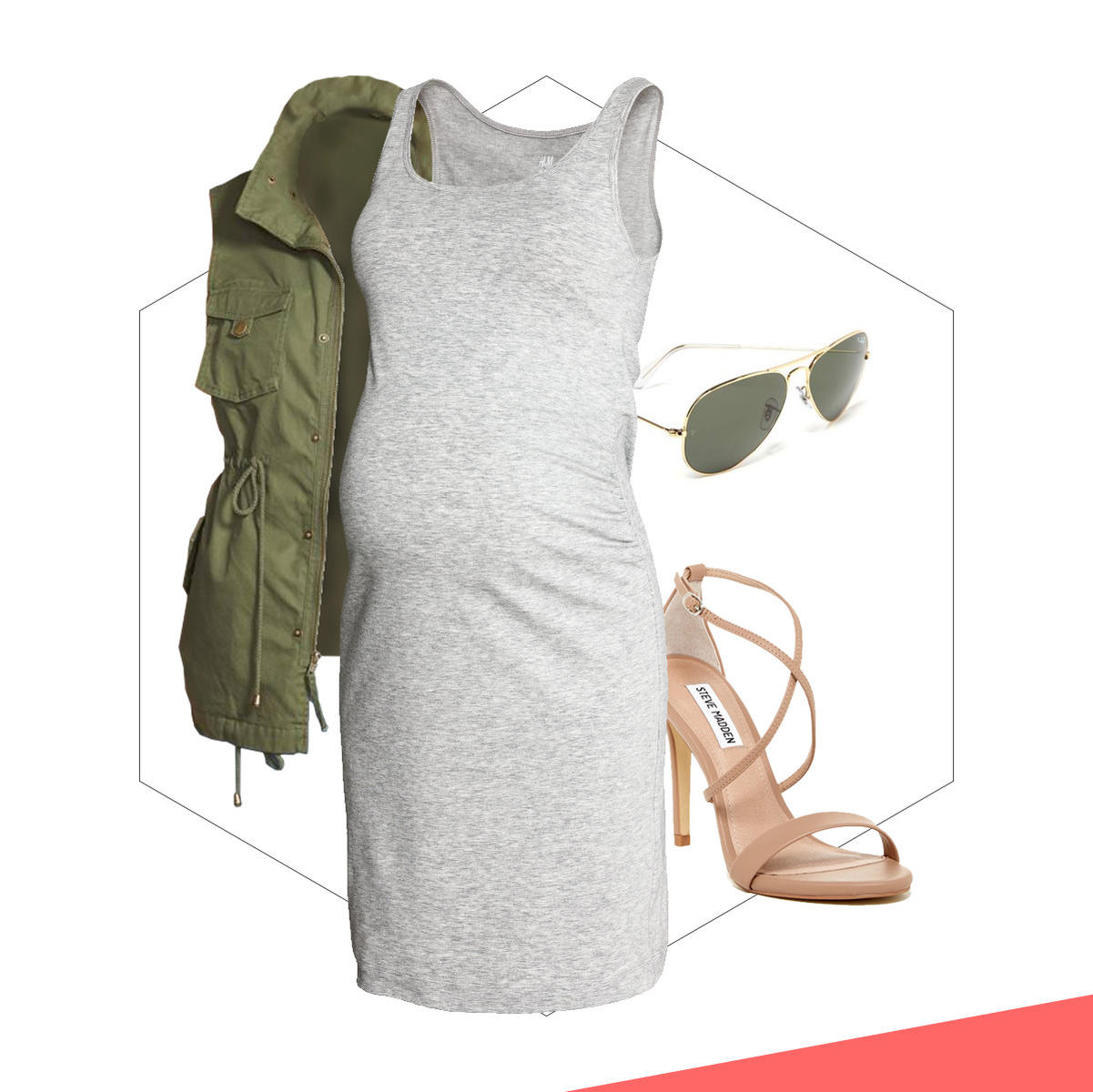 A body con dress with nude heels and an army green jacket