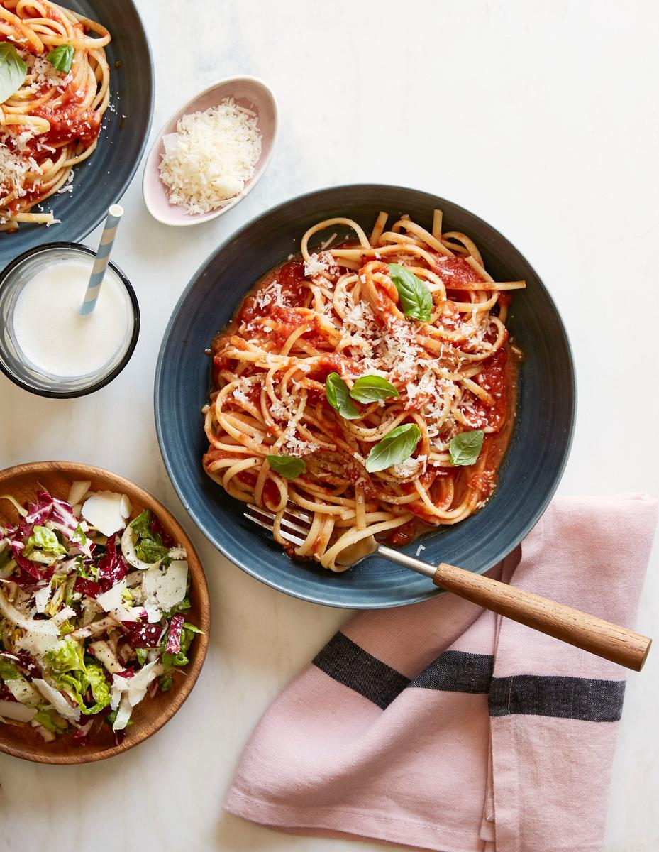 Linguine Pomodoro With Tricolor Salad