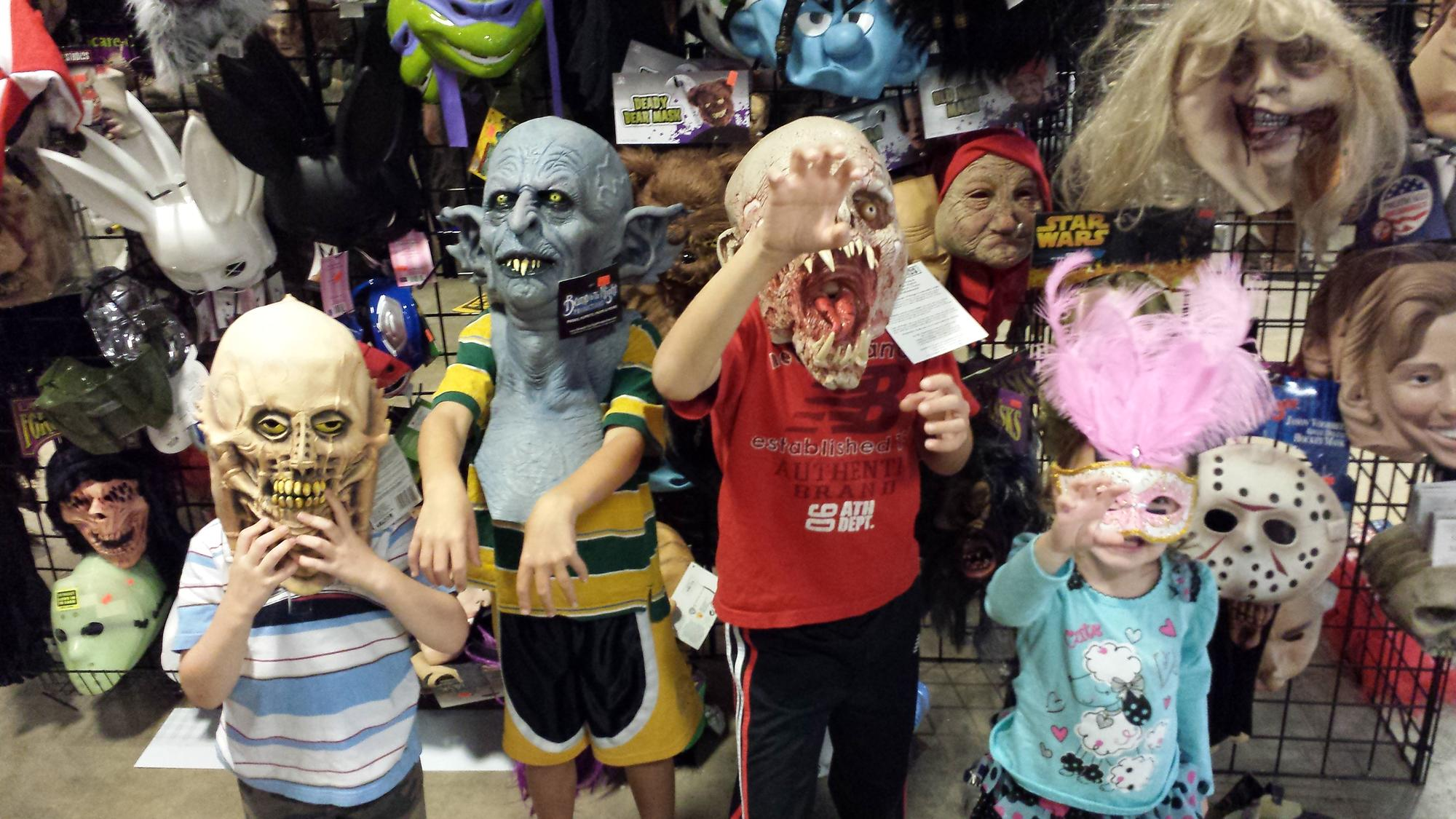 Kids in Halloween Masks