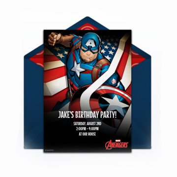Captain America Birthday Party Invitation