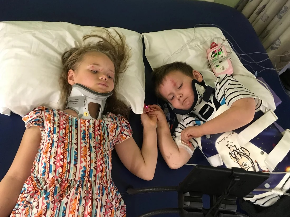 Young Siblings Reunite 3 Weeks After Surviving Car Crash That Killed Their Parents and Sister