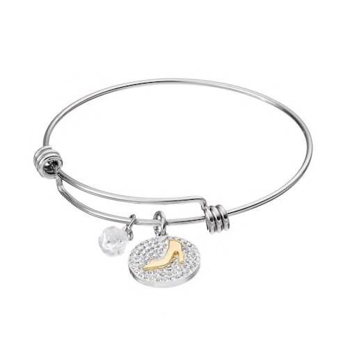 Disney's Cinderella Two Tone  If The Slipper Fits  Disc Charm Bangle Bracelet
