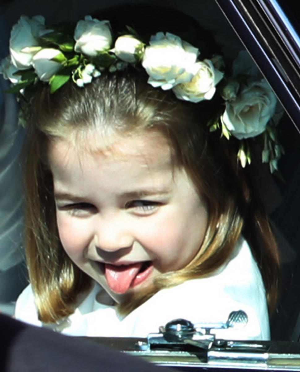 Princess Charlotte Channels Uncle Harry by Cheekily Sticking Out Tongue at Royal Wedding