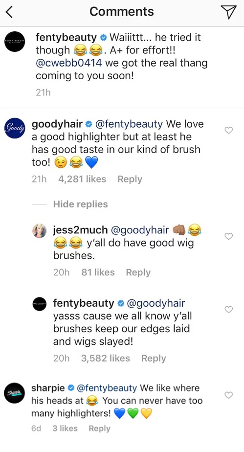 Fenty Beauty Instagram Comments