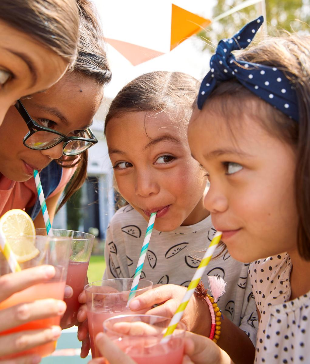 Kids Young Girls Drinking Lemonade Watermelon Flavor From Straw