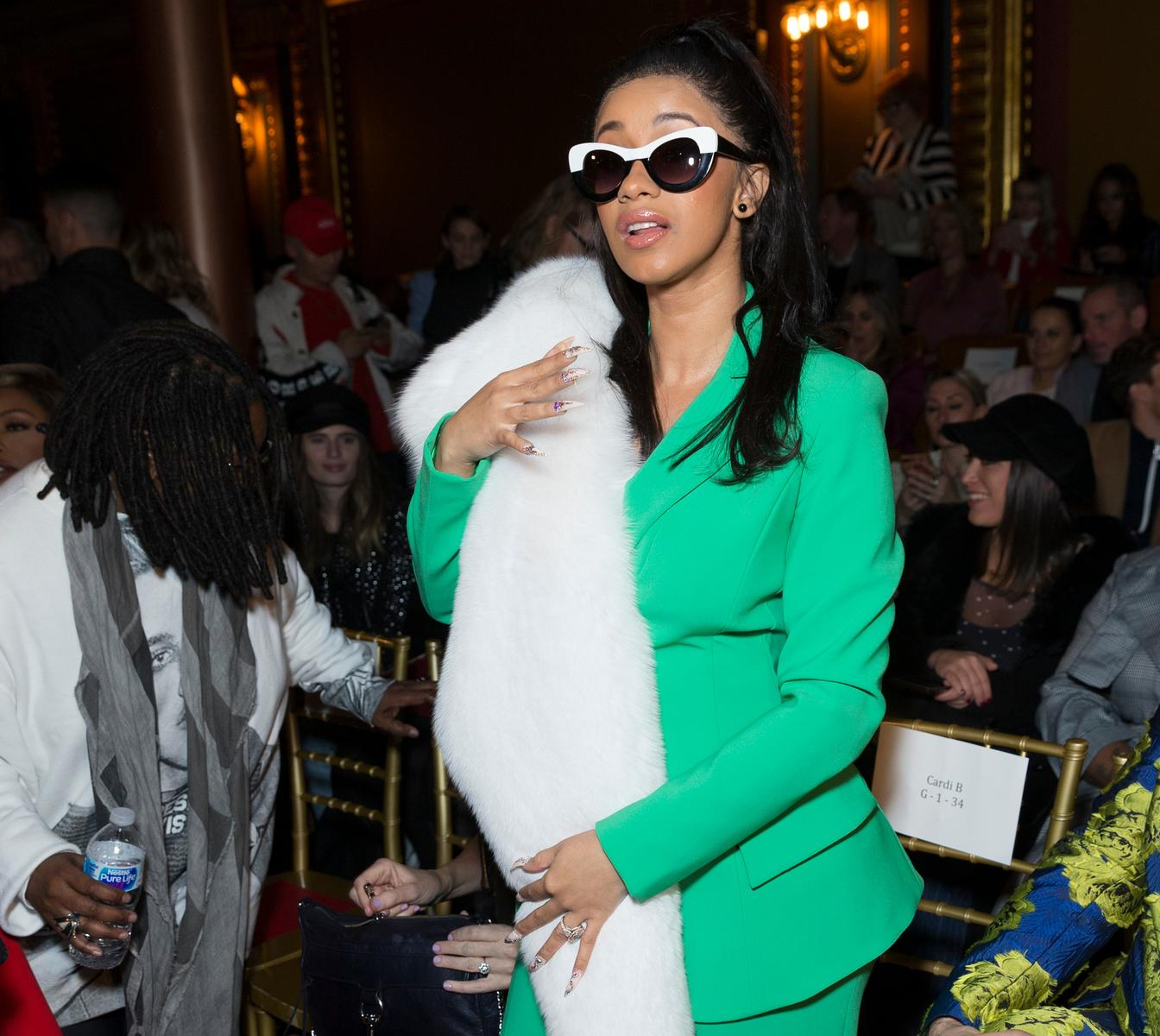 Pregnant Cardi B Green Suit White Fur