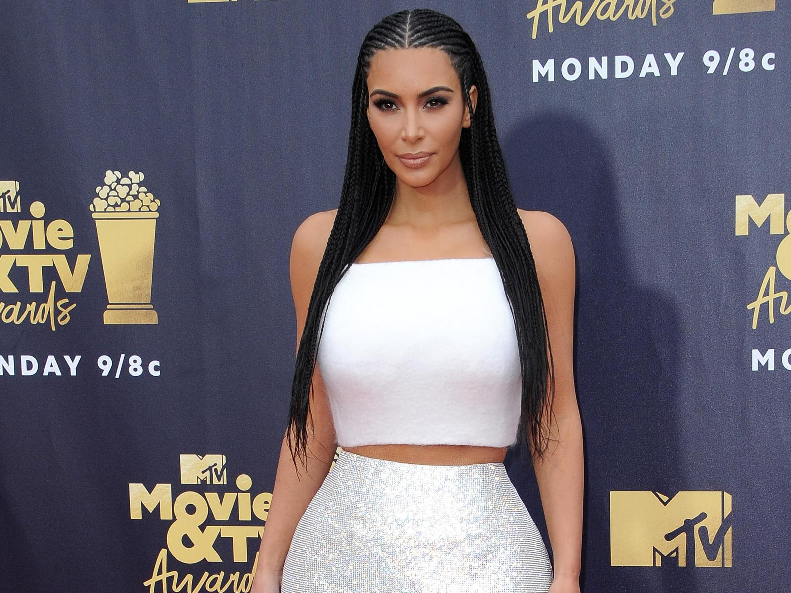 Kim Kardashian West Braids White Dress MTV Movie Awards Carpet
