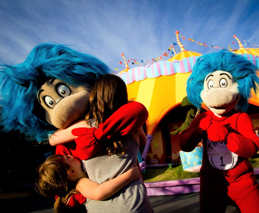 Seuss Landing at Universal's Islands of Adventure Children Hugging Thing 1 and 2
