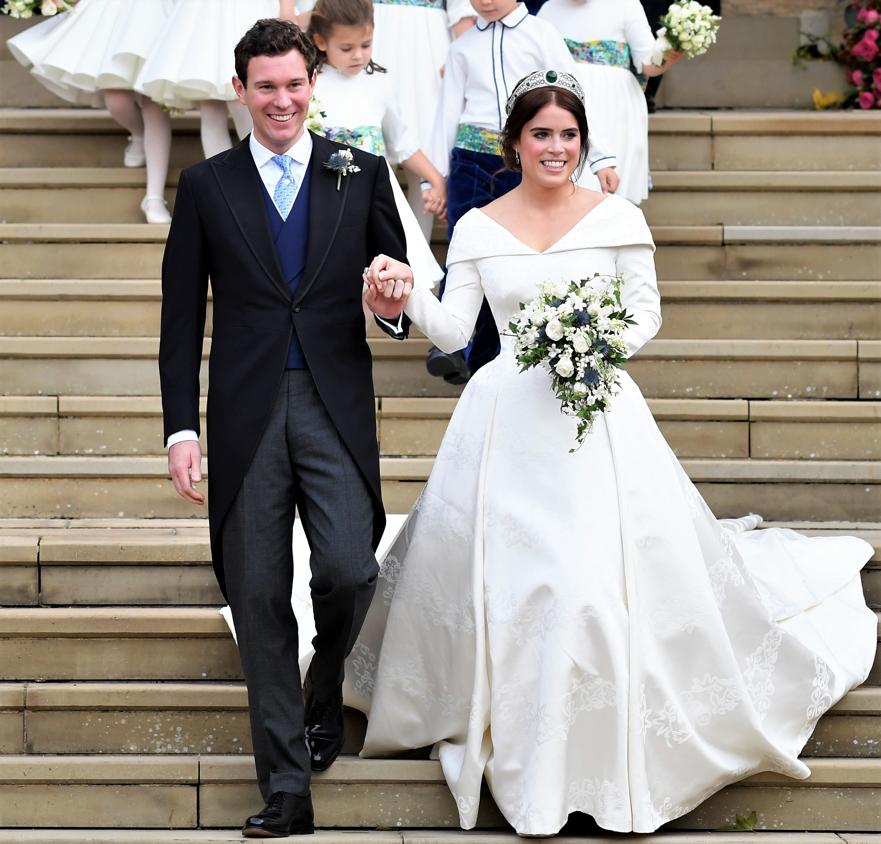 See Princess Eugenie's Open-Back Wedding Dress, Designed to Feature Her Spinal Surgery Scar
