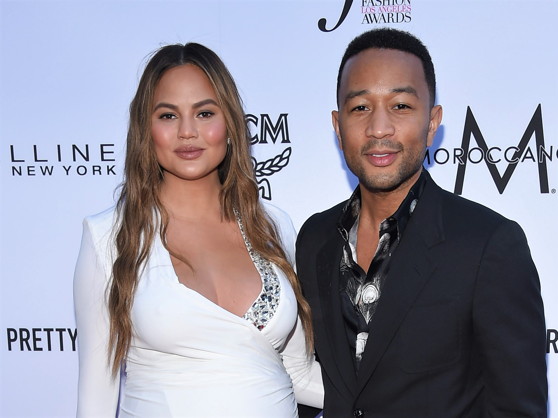 Chrissy Teigen White Dress and John Legend