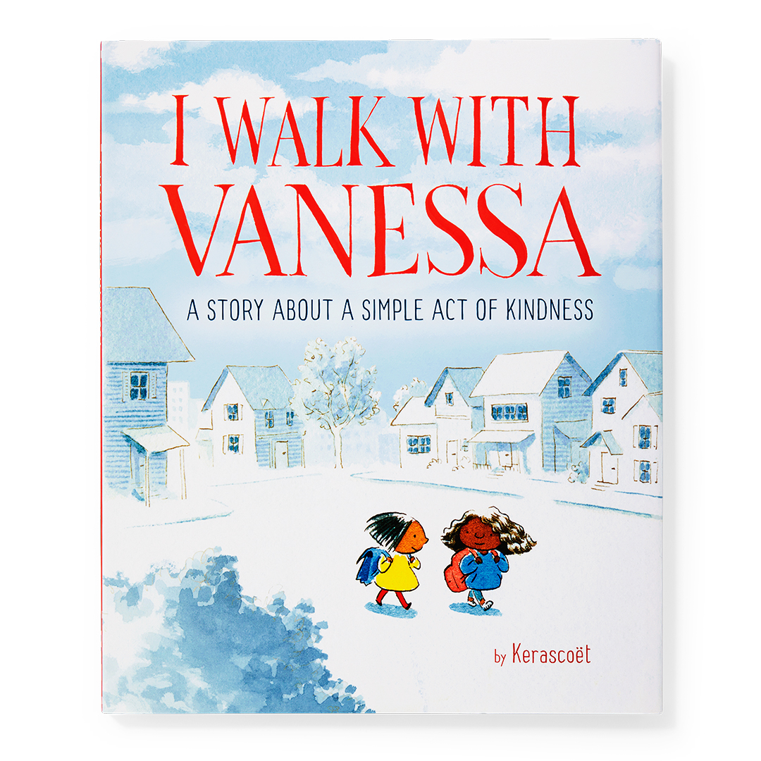 I Walk With Vanessa book with two girls walking in neighborhood